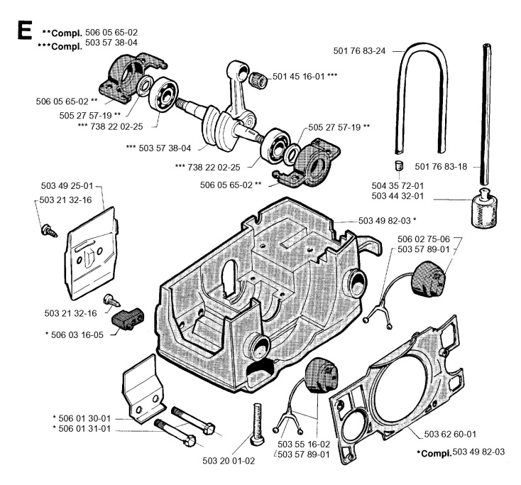 Jonsered 2045 (1994-09) Chainsaw CRANKCASE Spare Parts Diagram