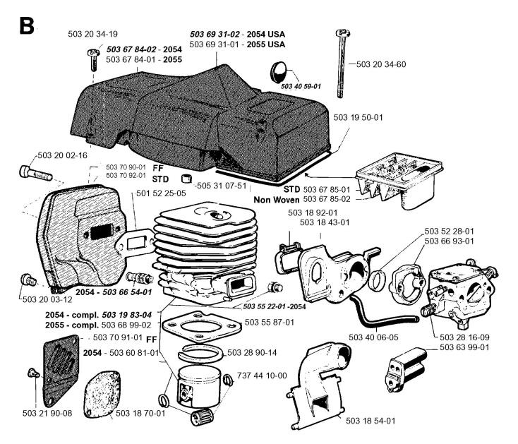 Jonsered 2054 (1996-02) Chainsaw CYLINDER, PISTON