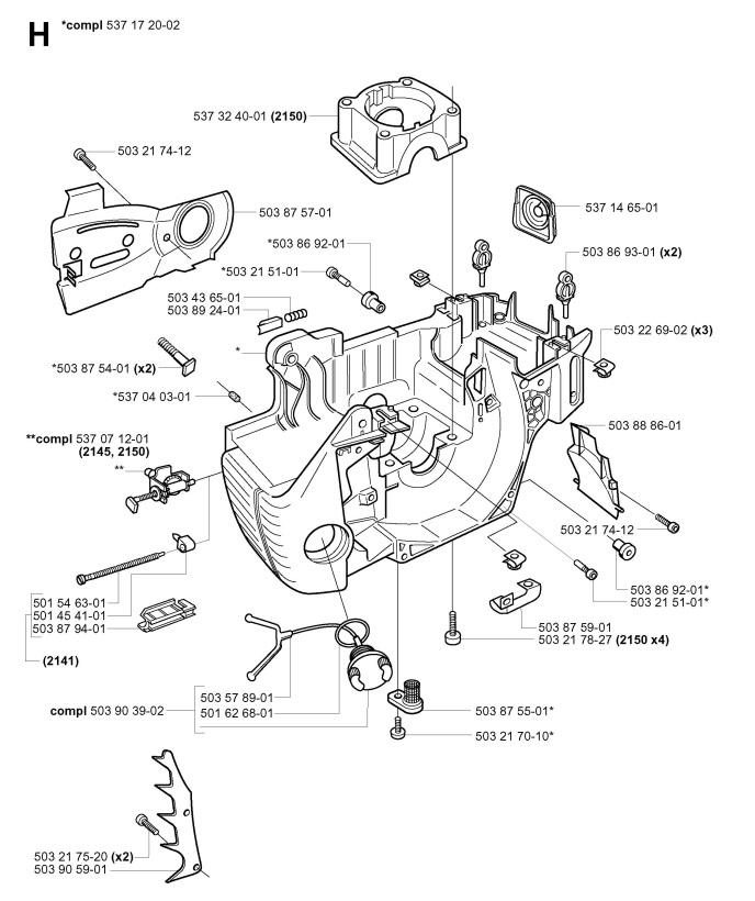 Jonsered CS2141 EPA (2004-03) Chainsaw CRANKCASE Spare