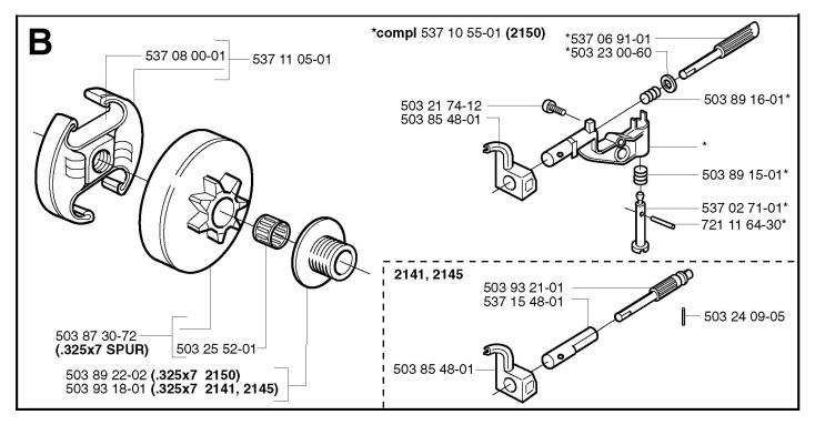 Jonsered CS2141 (2003-01) Chainsaw CLUTCH & OIL PUMP Spare