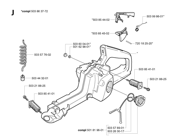 Jonsered CS2150 (2003-01) Chainsaw FUEL TANK Spare Parts