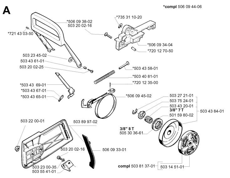 Jonsered 2077 (2001-10) Chainsaw CHAIN BRAKE & CLUTCH