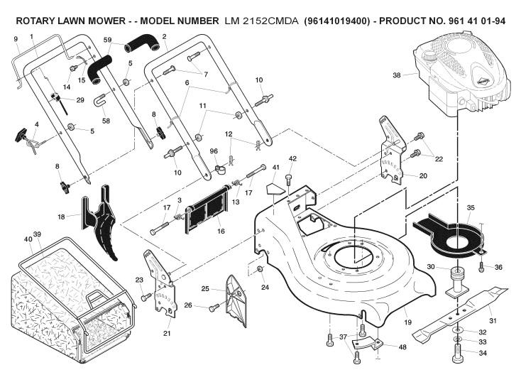 Jonsered LM 2152 CMDA (96141019401) Lawnmower FRAME