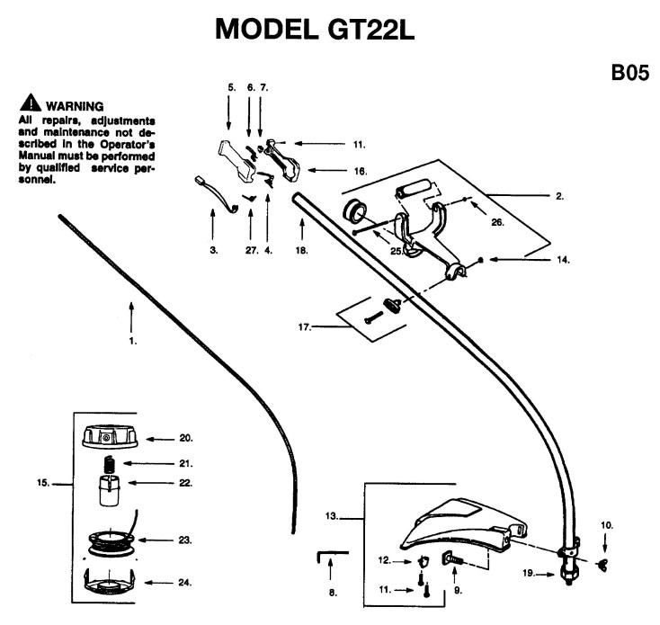Jonsered GT22 L (1996-03) Trimmer SHAFT & HANDLE Spare