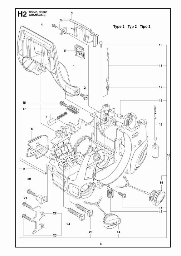 McCulloch CS380 (967326307) Chainsaw CRANKCASE Spare Parts
