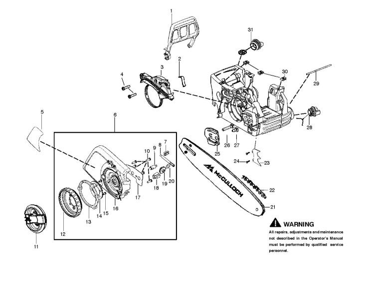 McCulloch CS400T (2012-07) Chainsaw CHAIN BRAKE & CLUTCH