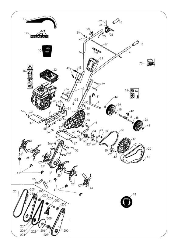 McCulloch MFT 44-154 (966649301) Cultivator REPAIR PARTS