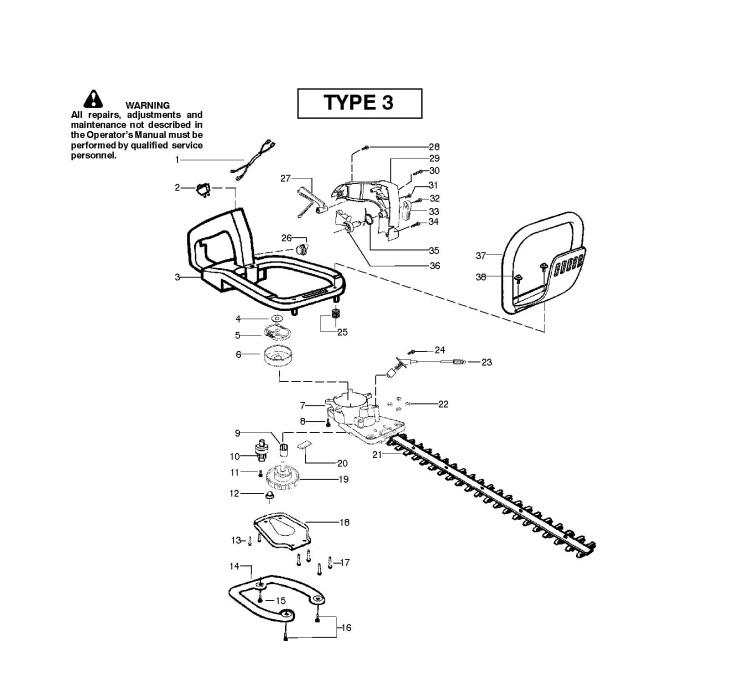 McCulloch T55 (952715450) Hedge Trimmer CLUTCH & OIL PUMP