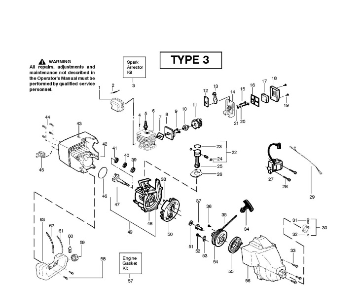 McCulloch TM251 (952715438) Trimmer ENGINE Spare Parts Diagram