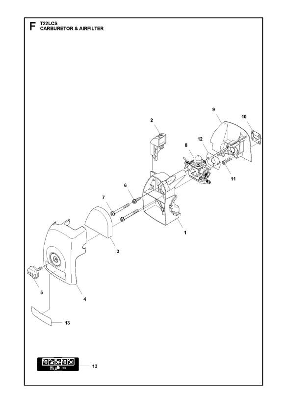 McCulloch T22 LCS (9666318-01) Trimmer CARBURETOR & AIR