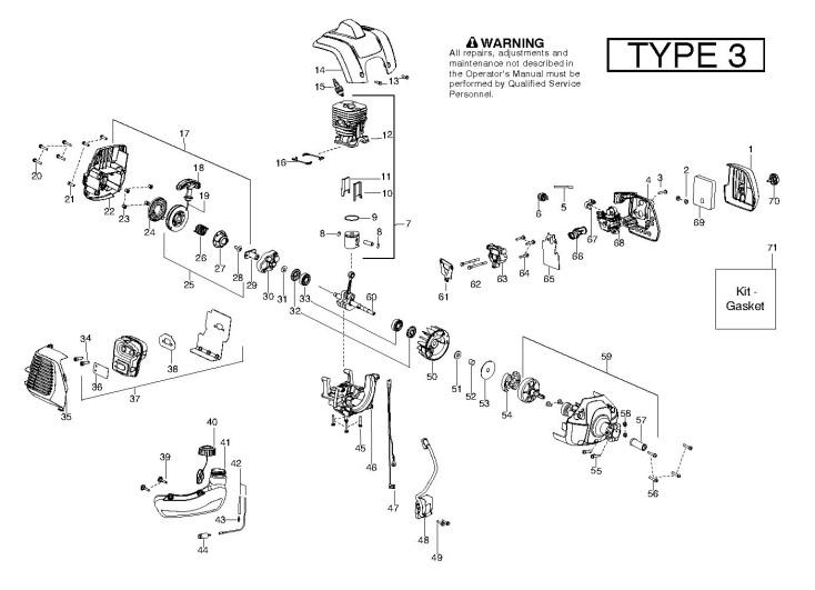 Partner BC433 B (952715748) Trimmer ENGINE Spare Parts Diagram