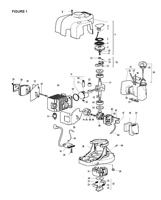Partner HG65 (953900523) Hedge Trimmer ENGINE Spare Parts