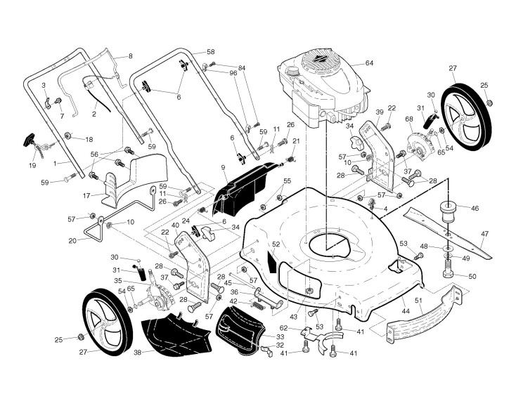 Partner P56-675DWA (96141019500) Lawnmower FRAME Spare