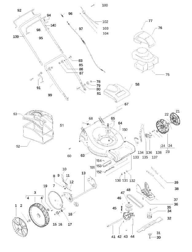 Partner P51-550 CDW (966483001) Lawnmower PRODUCT COMPLETE