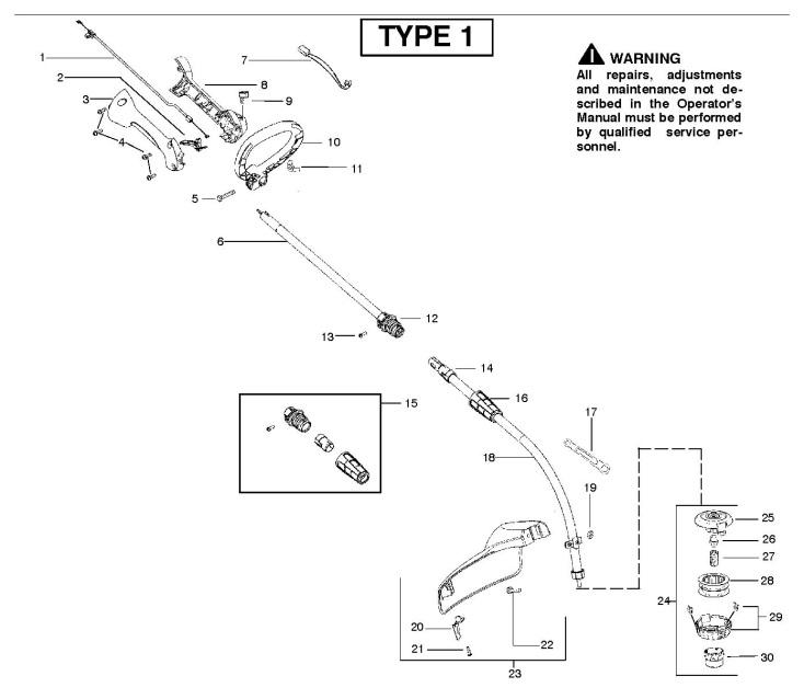 Partner Colibri II S (952715744) Trimmer SHAFT & HANDLE