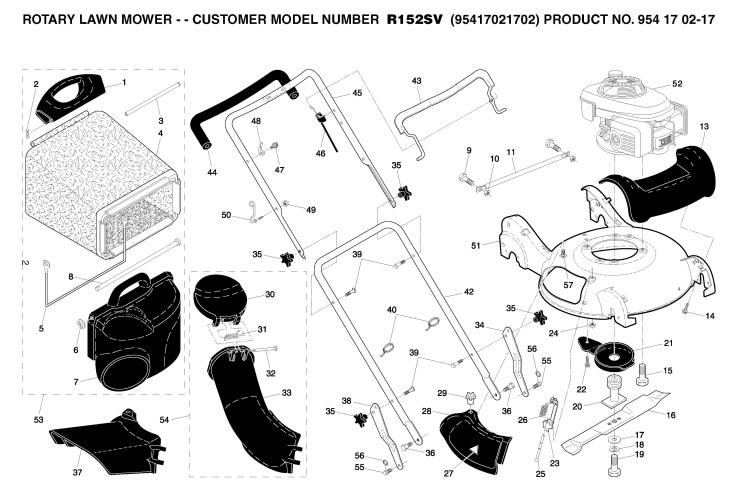 Husqvarna R152SV (95417021702) Lawnmower FRAME & ENGINE
