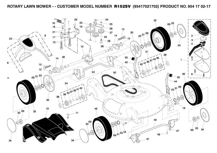 Husqvarna R152SV (95417021702) Lawnmower WHEELS & TIRES