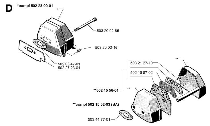 Husqvarna 250 RX (1997-08) Trimmer MUFFLER Spare Parts Diagram