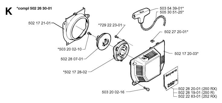 Husqvarna 250 RX (1997-08) Trimmer STARTER Spare Parts Diagram