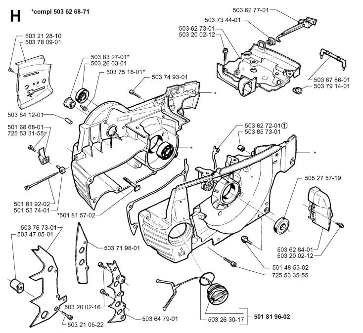 Husqvarna 371 XP (1996-09) Chainsaw CRANKCASE Spare Parts