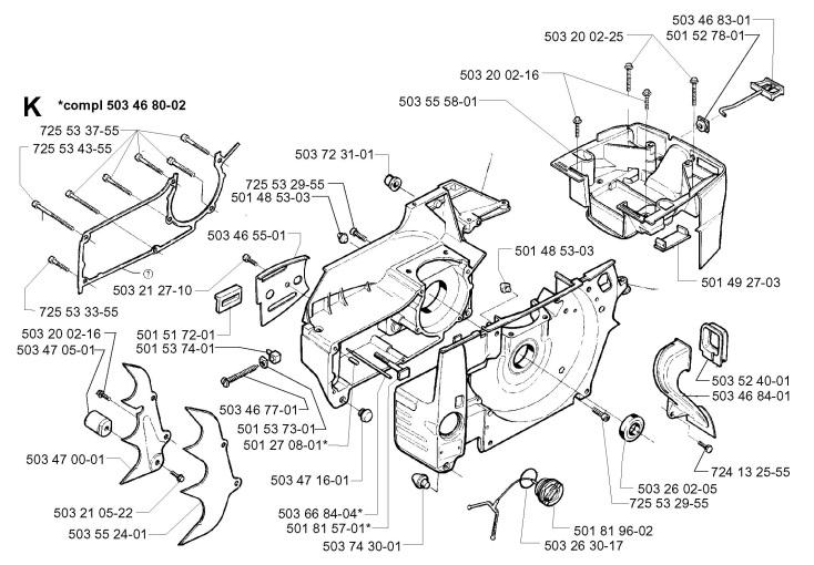 Husqvarna 394 XP (1996-01) Chainsaw CRANKCASE Spare Parts