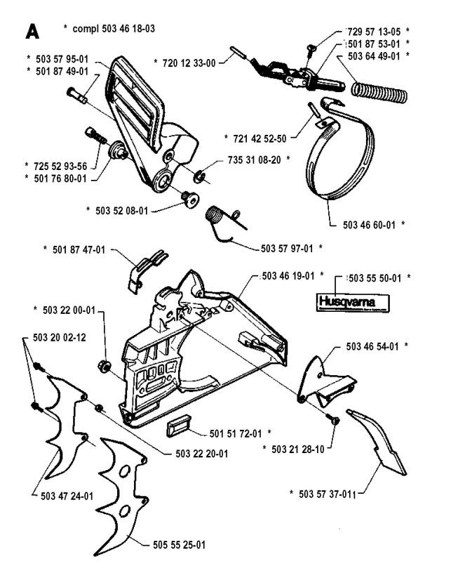 Husqvarna 394 XP (1992-10) Chainsaw CHAIN BRAKE Spare