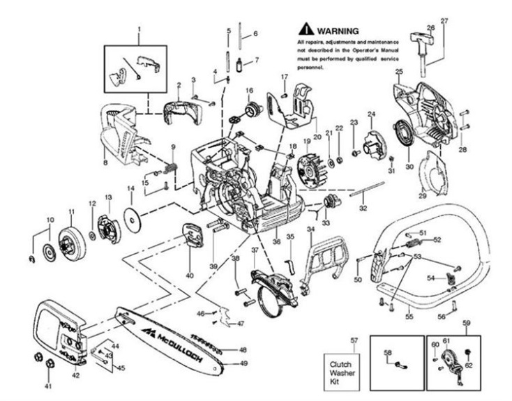 McCulloch MAC 8-38, MAC 838 (952802196) Chainsaw CHASSIS