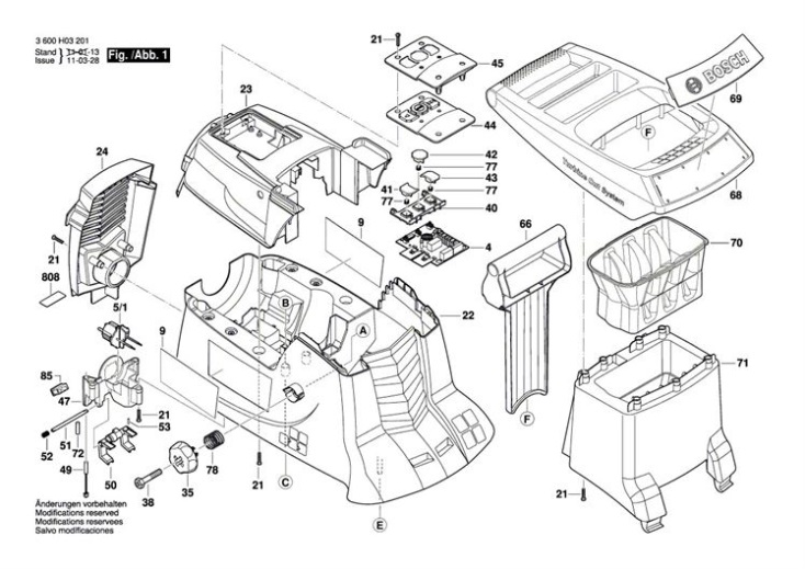 Bosch AXT 25 TC (3600H03371) Chopper Diagram 1 Spare Parts
