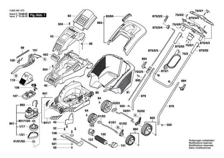 Bosch ROTAK 43 (ERGOFLEX) (3600H81370) Lawnmower Diagram 1