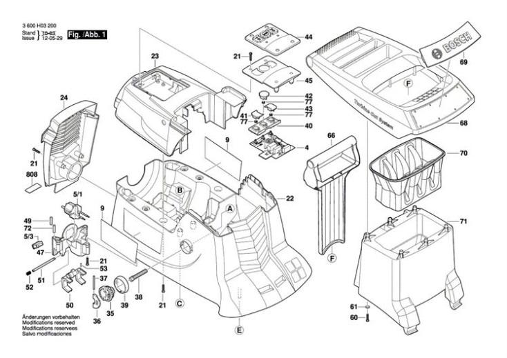 Bosch AXT 23 TC (3600H03270) Chopper Diagram 1 Spare Parts
