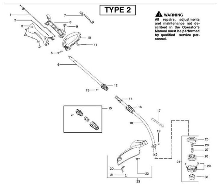 Partner Colibri II S (952715744) Trimmer SHAFT & HANDLE1