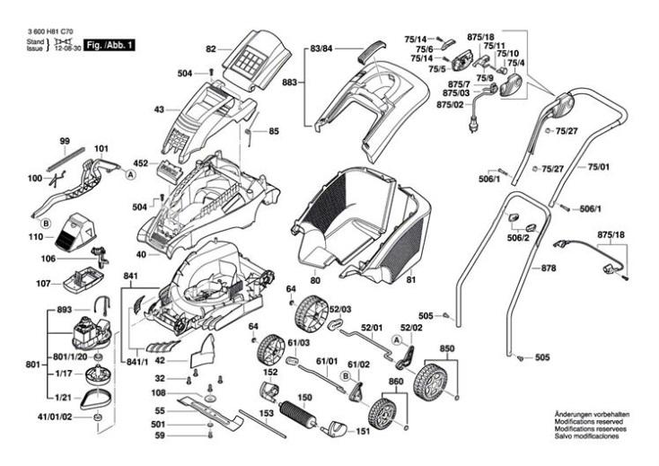 Bosch ROTAK 40 (3600H81C70) Lawnmower Diagram 1 Spare