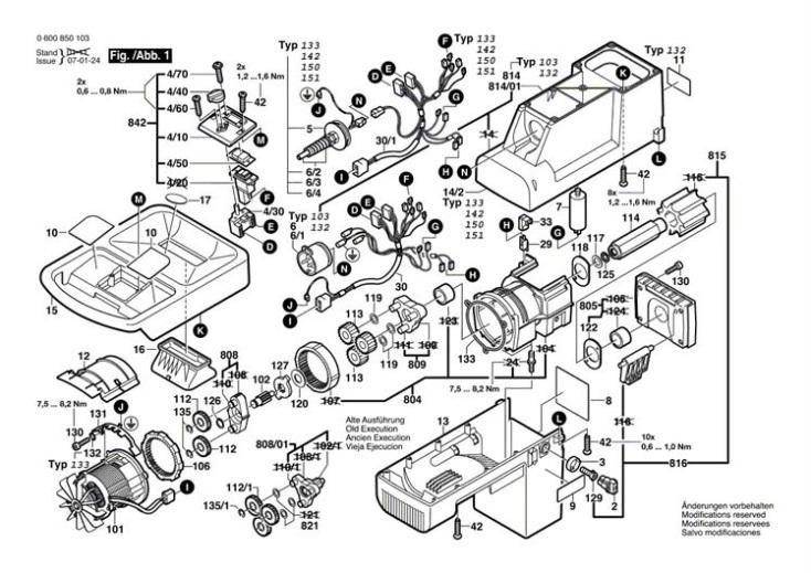 Bosch AXT 2200 (0600850142) Chopper Diagram 1 Spare Parts