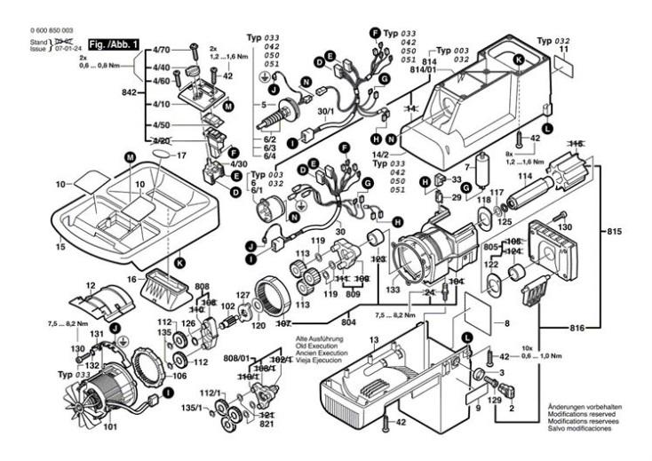 Bosch AXT 1800 (0600850042) Chopper Diagram 1 Spare Parts