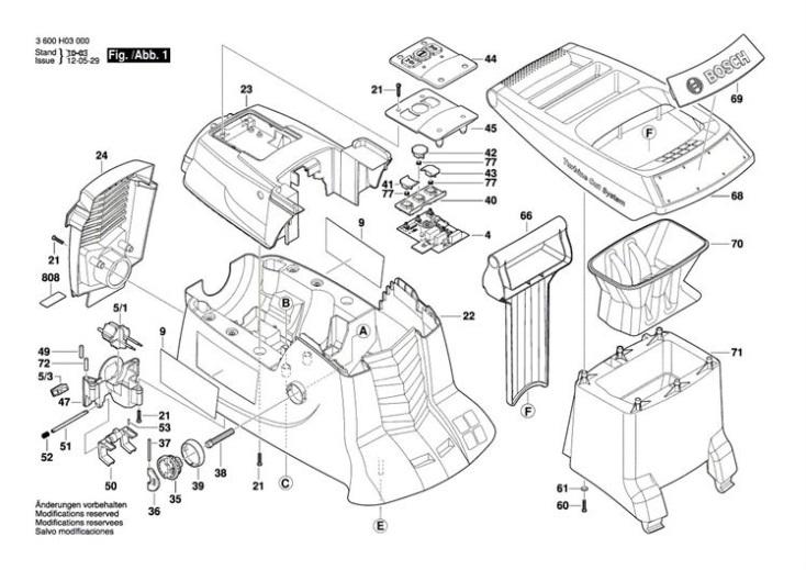 Bosch AXT 22 D (3600H03070) Chopper Diagram 1 Spare Parts