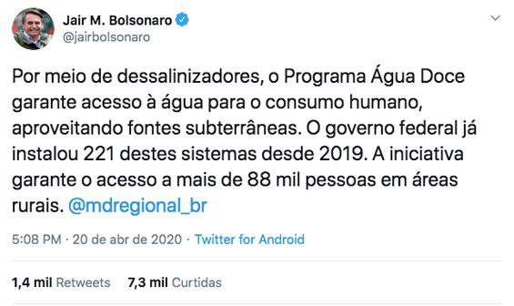 Tweet do presidente Jair Bolsonaro