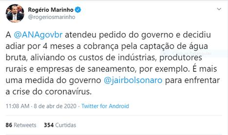 Tweet do ministro Rogério Marinho