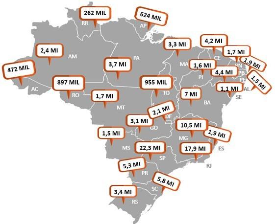 Mapa demostrativo de distribuição de EPI. Imagem: MS