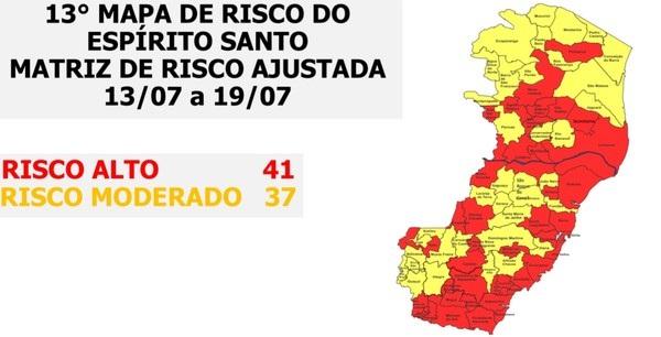 Novo mapa de risco da Covid-19 tem 41 municípios em risco alto e 37 moderados