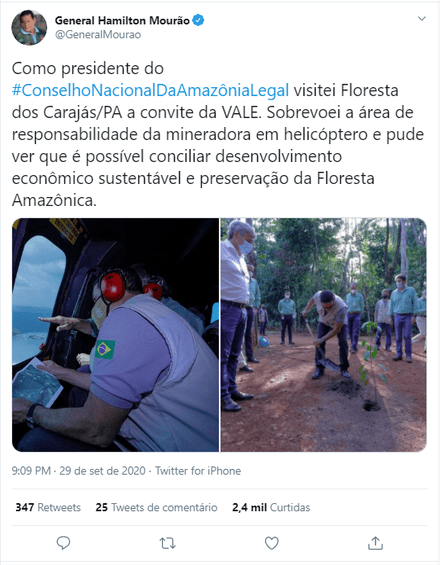 Tweet do vice-presidente Hamilton Mourão