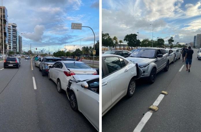 Seis carros se envolveram em engavetamento na Praia de Camburi, em Vitória. — Foto: Carol Monteiro/TV Gazeta