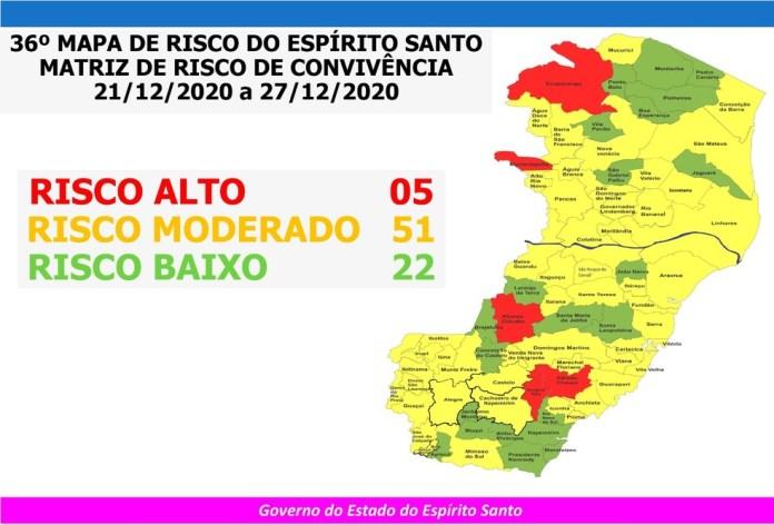 36º Mapa de Risco da Covid-19 no Espírito Santo — Foto: Divulgação/Governo ES