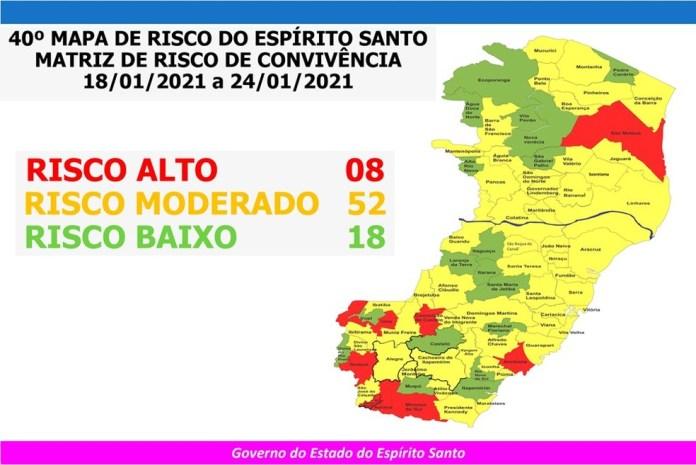 40º Mapa de Risco do ES para a Covid-19 — Foto: Divulgação/ Governo do ES