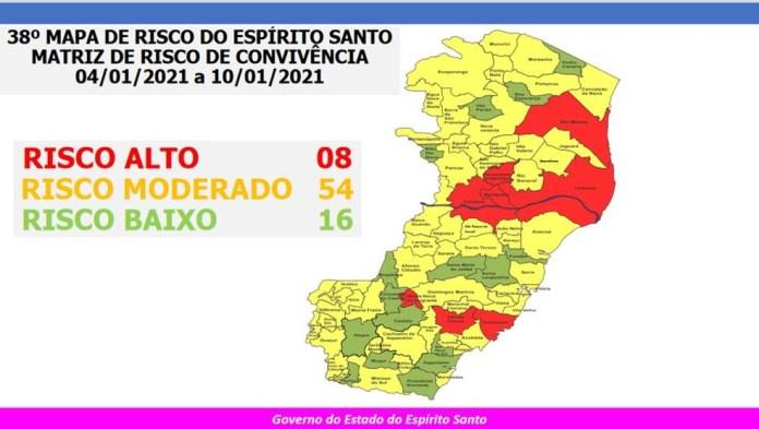 38º Mapa de Risco da Covid-19 no ES — Foto: Divulgação/ Governo do ES
