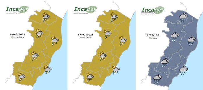 Mapa da previsão do tempo do Incaper para esta quinta (18), sexta (19) e sábado (20). — Foto: Reprodução/Incaper