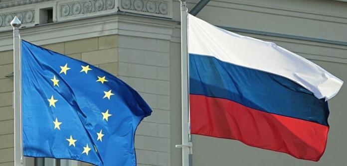 Bandeiras da UE e da Rússia