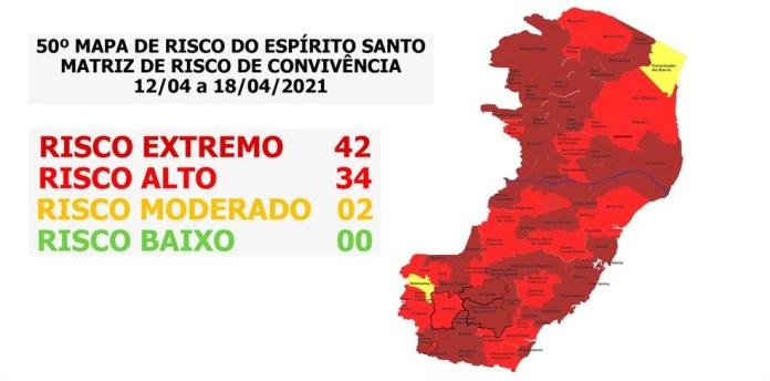 Das 78 cidades capixabas, 42 estão classificadas em risco extremo — Foto: Divulgação/Governo do ES