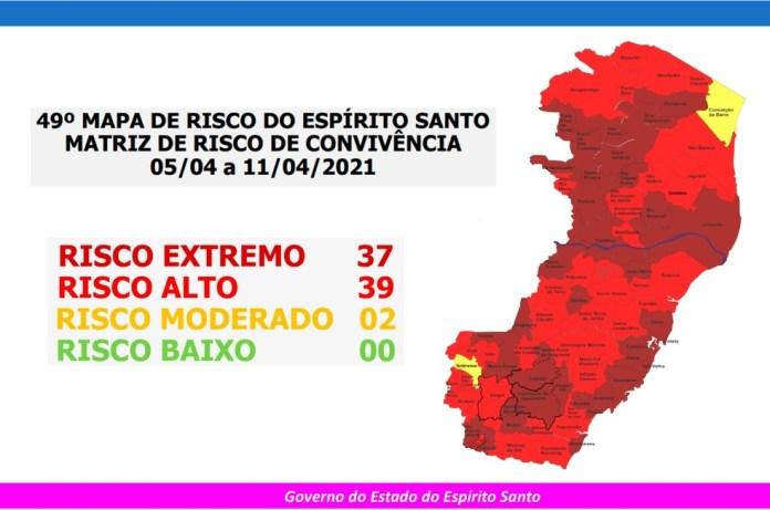49º Mapa de Risco para a Covid-19 no Espírito Santo — Foto: Divulgação/Governo ES
