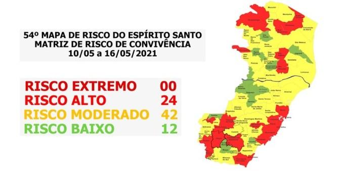 54º Mapa de Risco para Covid-19 no Espírito Santo — Foto: Divulgação/ Secom-ES