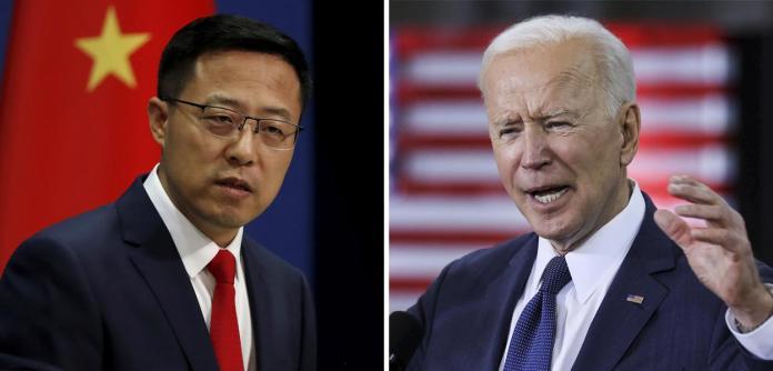 Zhao Lijian e Joe Biden
